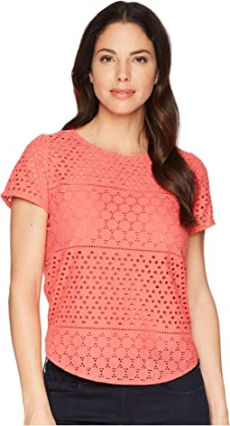 Nadine Broderie Front/Jersey Back Top