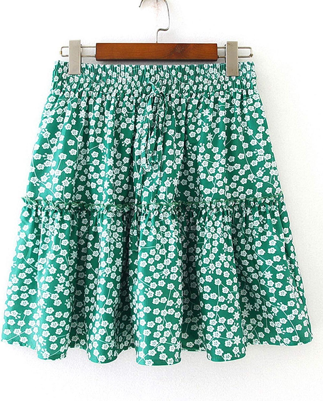 Balasami Women's Cute Ruffle Floral Printed High Waist Flared Beach Mini Skater Swing Skirt