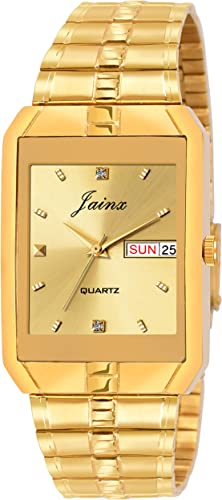 JAINX Analogue Men s Watch Gold Dial Gold Colored Strap
