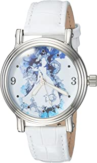 DISNEY Women's Princess Analog-Quartz Watch with Leather-Synthetic Strap, Silver, 16 (Model: WDS000179)