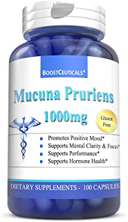 Mucuna Pruriens Extract 500mg Capsules – Pure Natural Plus No Additives 1000mg Daily Serving - Non-GMO Glut...