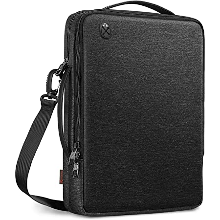FINPAC 13-inch Laptop Shoulder Bag for 13.3'' MacBook Pro/Air, 12.9-inch iPad Pro(2018-2021), Water-Resistant Electronics Carrying Bag for Chromebook/Surface Pro/Dell/HP(Black)