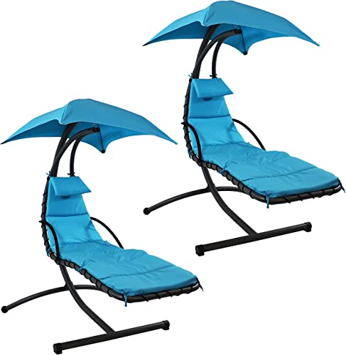 discount Sunnydaze Floating Chaise Lounger Swing lowest Chair with Canopy, 79 high quality Inch Long, Teal, 260 Pound Capacity, Set of 2 online
