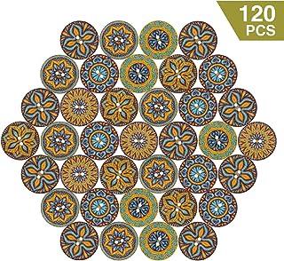 LEMESO 120 x Botones de Madera Estilísticos de Bohemia, Botones Vintage, Botones de Costura de 2 Agujeros 20mm de Ancho - 6 Patrones