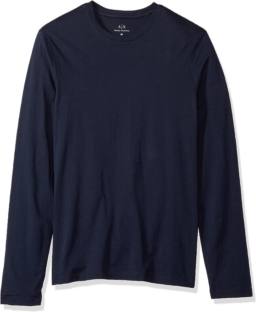 Armani exchange, maglia,felpa a maniche lunghe per uomo,100% cotone 8NZM77ZJA5Z