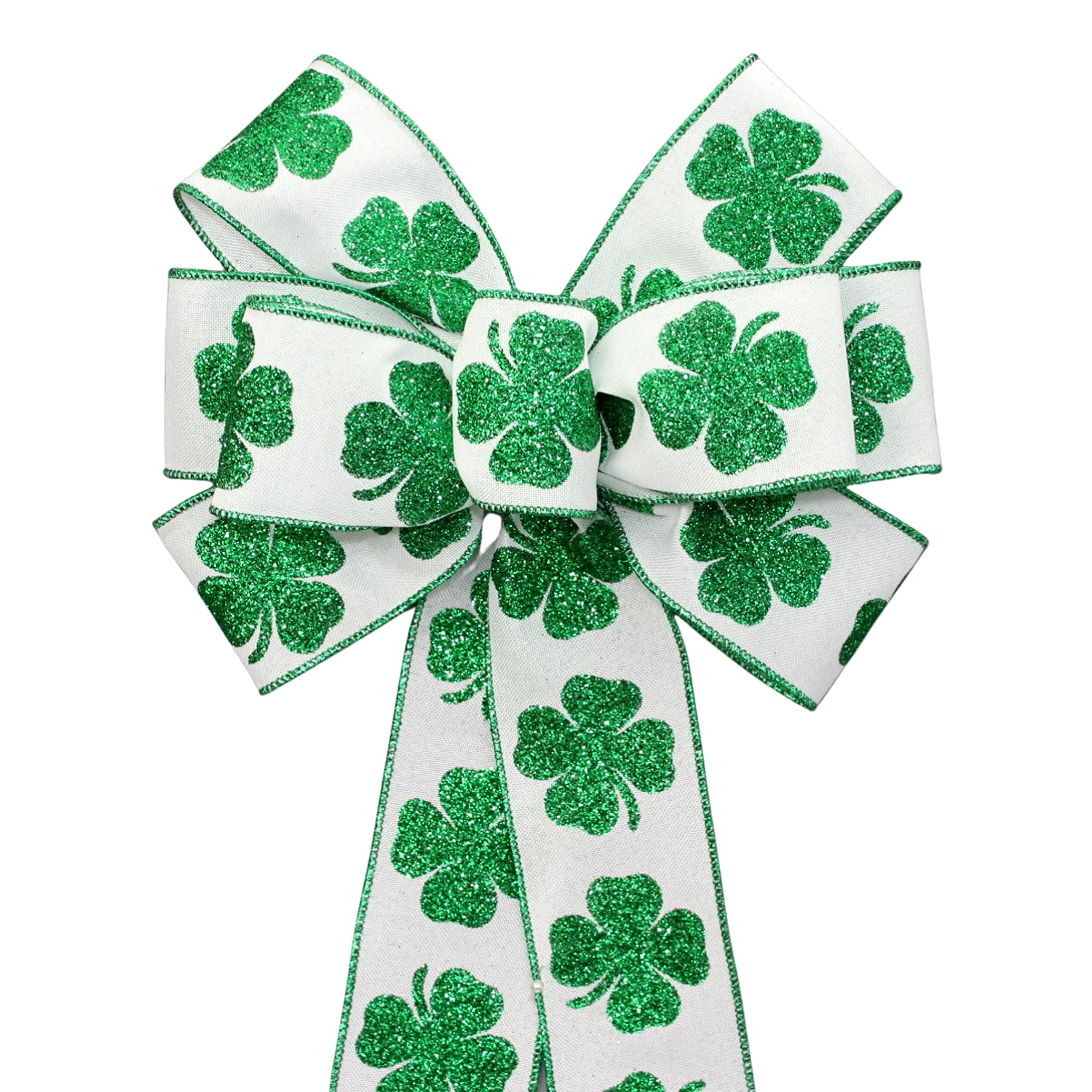 Bold Sparkle Shamrock St. Patrick's Day Size Opt We OFFer at National uniform free shipping cheap prices in 2 Bow Wreath