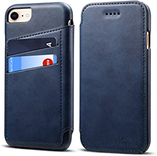 Phone Cover Compatible with iPhone 8/iPhone 7/iPhone 6 6s 4.7inch,PU Leather Case Blue Kickstand 360 Protection Concise Flip Shell Card Slot (ID Card, Credit Card) Holder Protector for Girls Boys