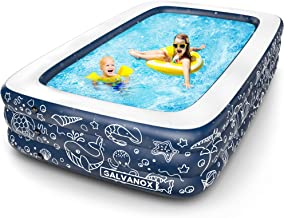 """Galvanox Inflatable Pool, XL Above Ground Swimming Pool for Kiddie/Kids/Adults/Family, Dark Blue (Large 10'x6' Ft / 22"""" Inches Deep)"""