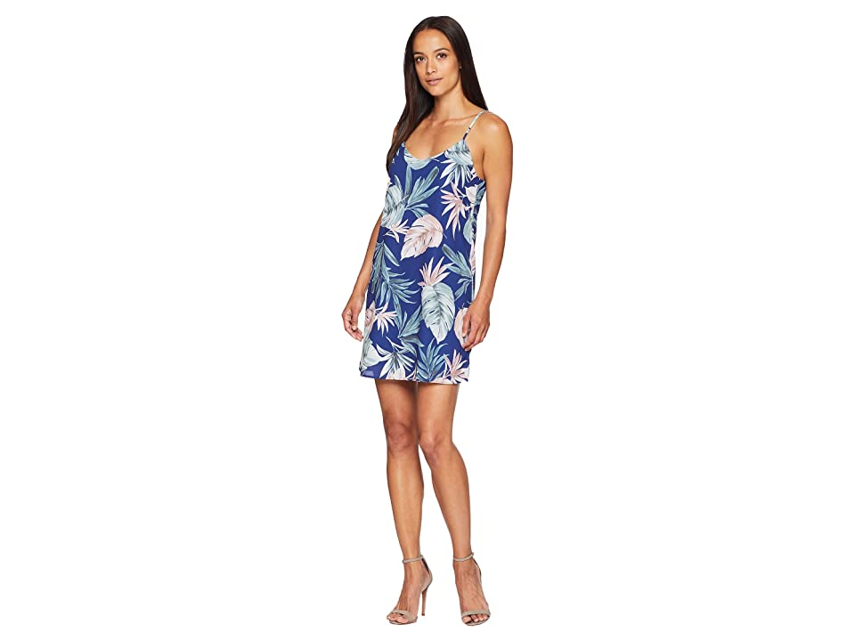 American Rose Kinsley Spaghetti Strap Tropical Dress (Navy/Multi) Women