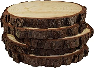 """5 Pack Round Rustic Woods Slices, 9""""-12"""", Unfinished Wood, Great for Weddings Centerpieces, Crafts"""