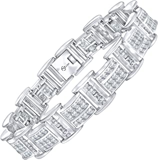 Men's Elegant Sterling Silver .925 Bracelet with 172 Highest Quality Channel-Set Simulated Diamond Princess-Cut Cubic Zirconia (CZ) Stones. Available in sizes 8