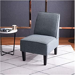 Alunaune Upholstered Slipper Chair for Living Room Armless Accent Chairs with Back