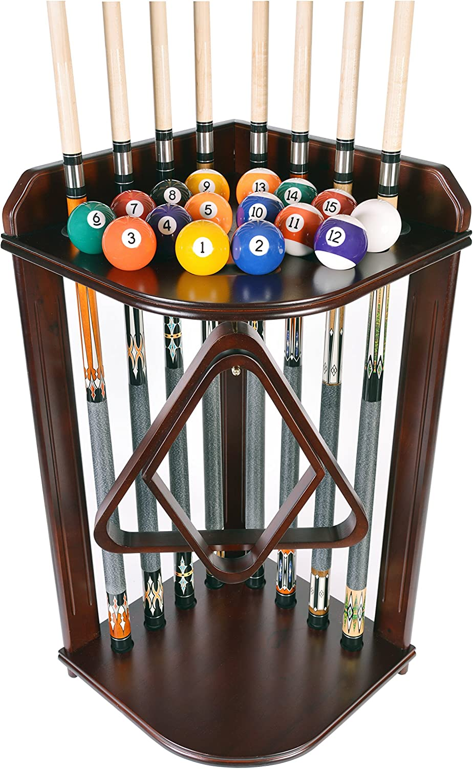 Pool Cue Rack Only Billiard Stick Stand Holds 8 Cues & Ball Set Choose Oak or Mahogany Finish (Mahogany)
