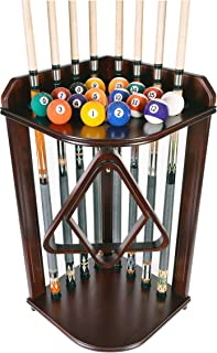 Pool Cue Rack Only- Billiard Stick Stand Holds 8 Cues & Ball Set Choose Mahogany or Black Finish
