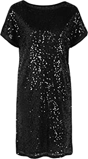Women's Sequin Cocktail Dress Loose Glitter Shift Party Tunic Dress