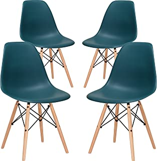 Poly and Bark Modern Mid-Century Side Chair with Natural Wood Legs for Kitchen, Living Room and Dining Room, Teal (Set of 4)