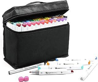 Marker Pen Set Alcohol Art Marker Set - 80 Color Dual Tip Sketch Markers with Bonus Fineliner Pen, Colorless Blender, and ...