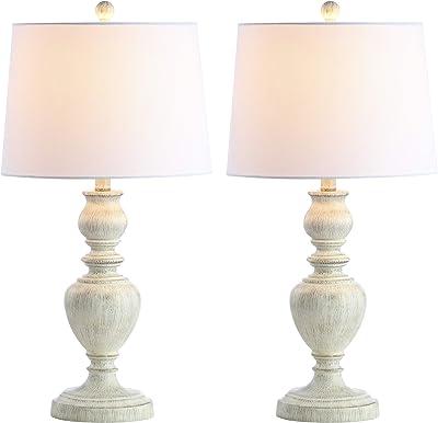 Safavieh Lighting Collection Zabi White 28-inch Bedroom Living Room Home Office Desk Nightstand Table Lamp (Set of 2) - LED Bulbs Included