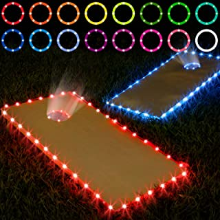 Best Frienda Cornhole Lights, 16 Colors Change Cornhole Board Edge and Ring LED Lights with Remote Control for Family Backyard Bean Bag Toss Cornhole Game, 2 Set Review