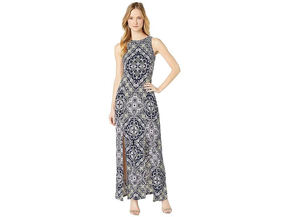 London Times Maxi Sheather Dress w/ Slits (Navy/Lilac) Women