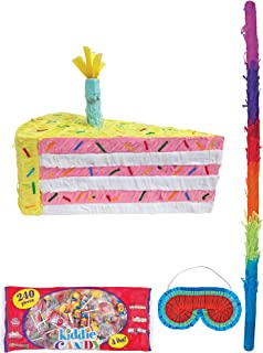 Party City Cake Slice Pinata Supplies, Include a Pinata, a Colorful Pinata Stick, a Blindfold, and 4 Pounds of Candy