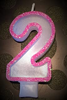 Wasiwax No (2) Birthday Candle - PINK GLITTER - Browse our store and choose other numbers