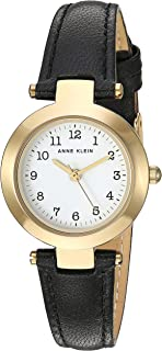 Anne Klein Women's Easy to Read Gold-Tone Leather Strap Watch