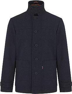 merc Mens London Button Up Winter Donkey Jacket Chiswick - Dark Blue