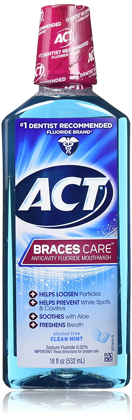 真実にメガロポリス命題ACT Braces Care Ant-Cavity Fluoride Mouthwash, Clean Mint, 18 Ounce by ACT