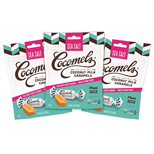 Cocomels Coconut Milk Caramels, Sea Salt Flavor, Organic Candy, Dairy Free, Vegan, Gluten Free, Non-GMO, No High Fructose Corn Syrup, Kosher, Plant Based, (3 Pack)