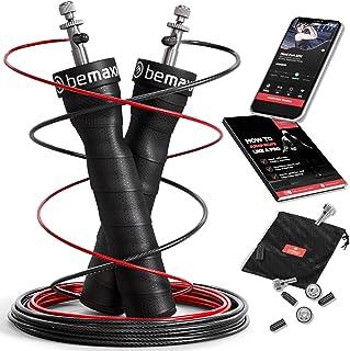 Hopprep Speed Rope + Träning e-Bok + Ersättningskabel, 2 Justerbara 10,3ft Stålkablar, Pro-Kullager + Halkskydd | Hemmagym...