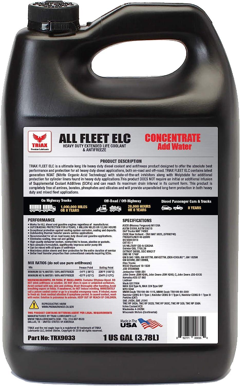 Amazon Com Triax All Fleet Hd Elc Noat Coolant Antifreeze Diesel Extreme Hd 1 Million Mile 8 Year 20 000 Hrs Cat Ec 1 Concentrate 1 Gallon Automotive