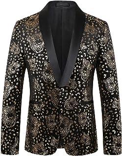 Pizoff Slim Fit Mens Luxury Gliding Two-Button Velvet Blazer Jacket Coat