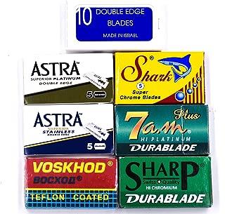 Double Edge Safety Razo Blade Variety Sampler Pack, 100 Blades, for All Standard Double Edge Safety Razors - Crystal, Astra, Shark, Sharp, Voskhod, 7am