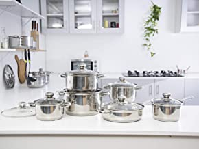 Royalford Stainless Steel Cookware Set, Silver, 12 Pieces, Silver,Cookware Set, Deluxe Quality Stainless Steel, Casserole,...