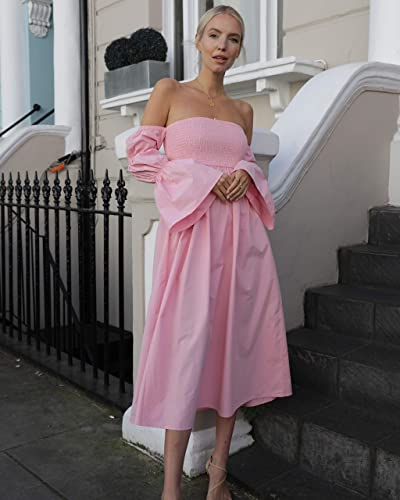 The Drop Women's Candy Pink Off Shoulder Tiered Puff Sleeve Midi Dress By @leoniehanne