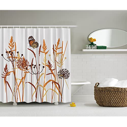 Dandelions Thistles Flower Leaf Seeds Bouquet Monarch Butterfly Wheat Field Wild Nature Art Decor Floral Curtains