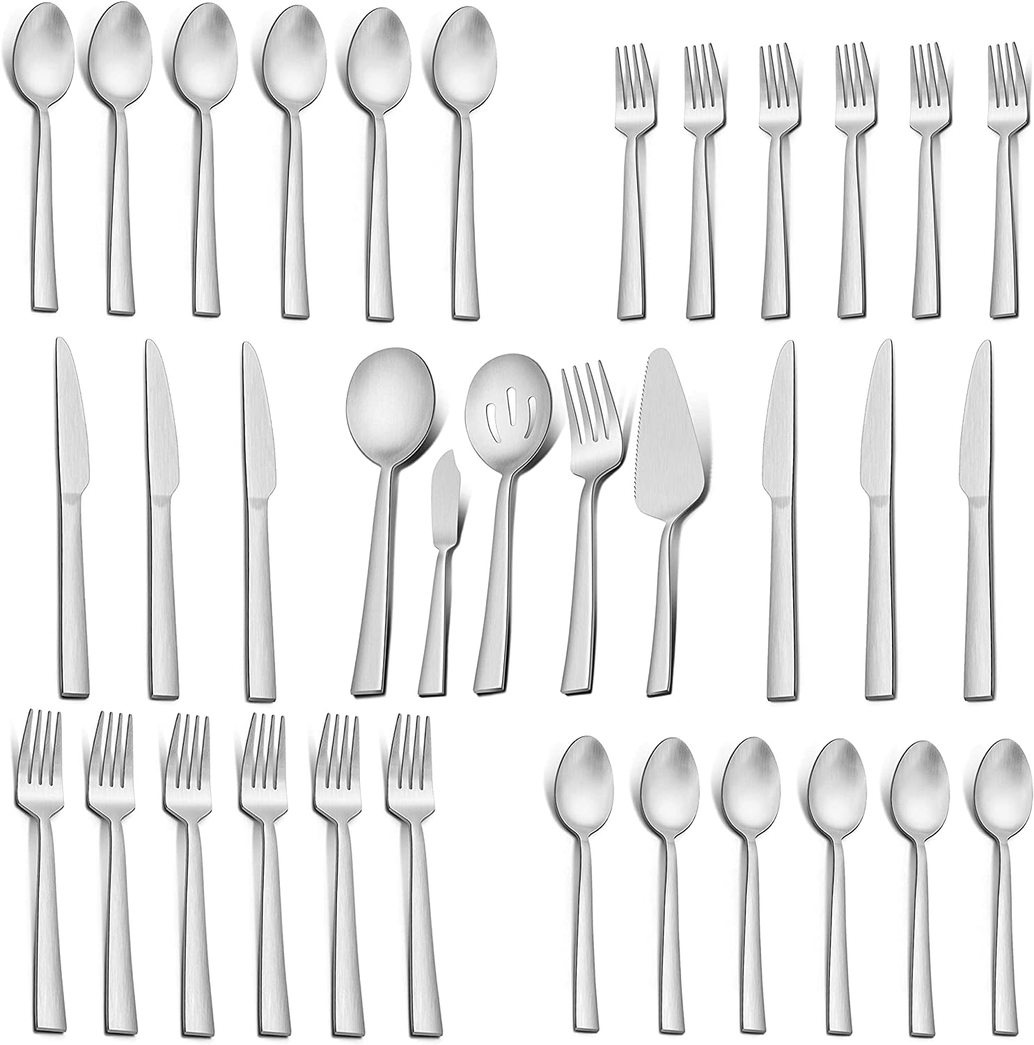 LIANYU 35-Piece Matte Elegant Silverware Set Serving Utensils Stai SEAL limited product with