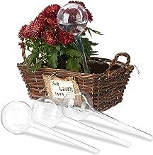 Relaxdays Bewateringsballen, set van 4, gedoseerde irrigatie, 2 weken, inschuifbaar, potplanten, kunststof, transparant, P...