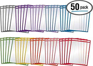"""$29 » Dry Erase Pocket Sleeves, 50 Count, Crystal Clear, by Better Office Products, Oversized, 10.25"""" x 13.75"""", Heavy Duty Dry Erase Pocket Sheet Protectors, Reusable Pockets with 10 Assorted Colors,50 Pack"""