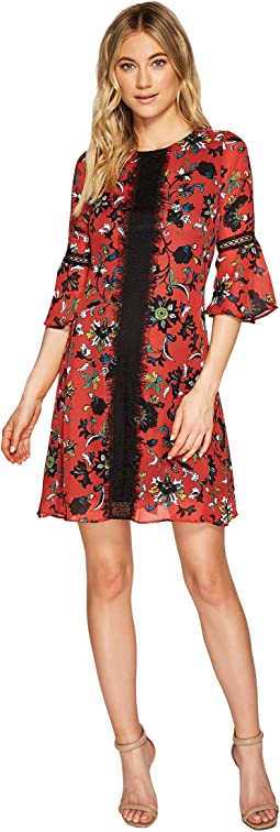 Christin Michaels - Esther Printed Dress with Lace Inset