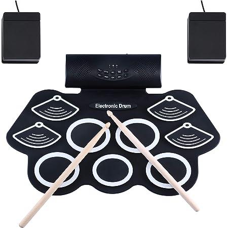 Asmuse Batterie Électronique Drum Set Batterie Musique Portable Roll Up Tambour, Silicones Drum Set, 9 Pads de Batterie Sensibles avec 7A Baguettes de tambour/Pédales/Batterie Rechargeable/Adaptateur