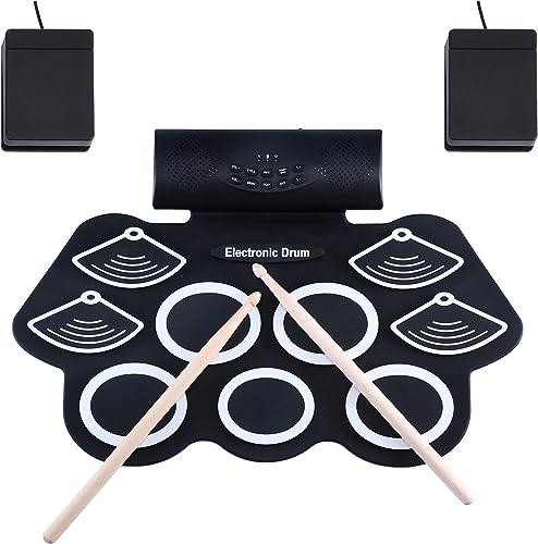 Asmuse Batterie Électronique Drum Set Batterie Musique Portable Roll Up Tambour, Silicones Drum Set, 9 Pads de Batter...