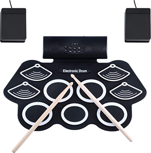 Asmuse Batería Electrónica Portátil Tambor E-Drum Plegable de Mesa con Almohadillas de Silicona Sensibles a 9 Velocid...