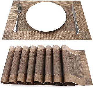 SueH Design Lot de 8 Sets de Table 45 * 30 CM Vinyle Tissé Marron