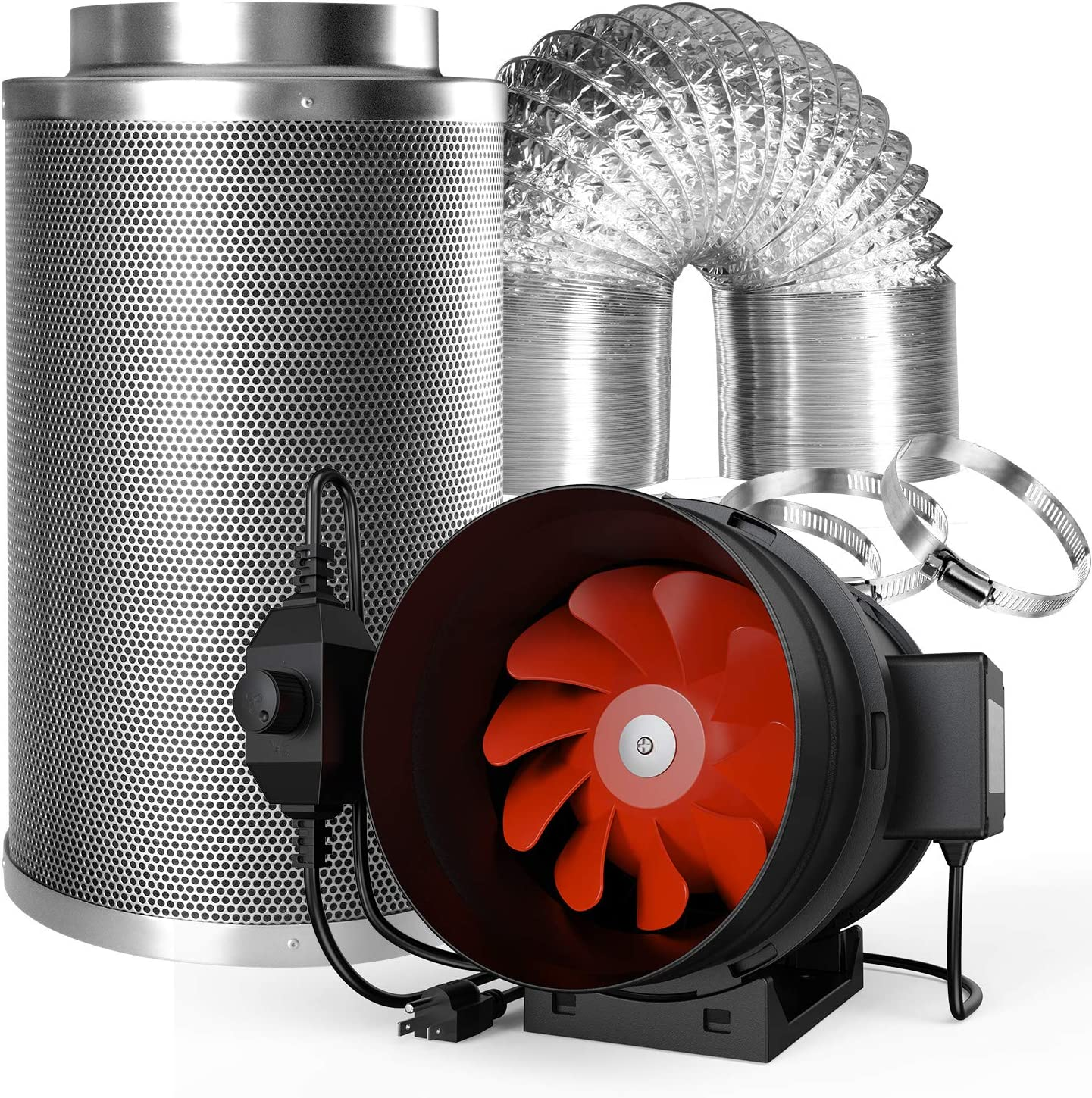 Spider Farmer Air Filtration Kit 4 Inch 200 CFM Inline Duct Fan with Speed Controller Carbon Filter 32 Feet Ducting Combo Set Ventilation System for Grow Tent Grow Room Indoor Plants
