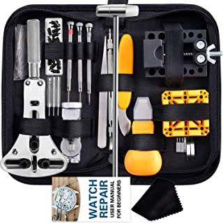 Watch Repair Kit, Anezus 187Pcs Watch Tool Kit with Watch Link Pin Remover Tools and Watch Back Case Removal Tools for Wat...