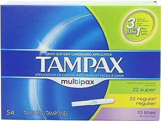 Tampax Anti-Slip Grip Cardboard Applicator, Lites/Regular/Super Multipax absorbency Tampons 54 Count (Pack of 2)
