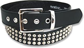 3 Row Conical Silver Studded Black Belt