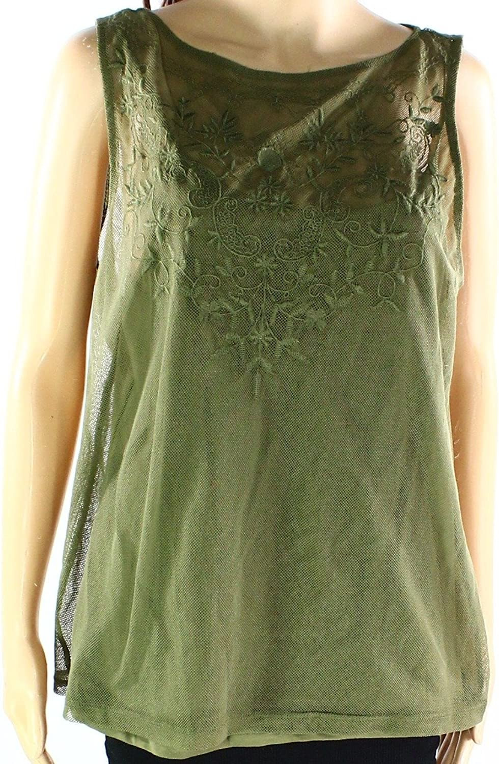 Ralph Lauren Womens Embroidered Tulle Knit Blouse